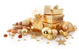 Decorazioni assortite eleganti di Natale dell'oro Fotografie Stock Libere da Diritti