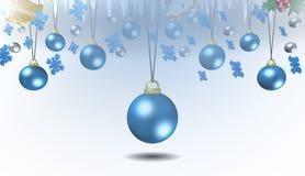 Decorazioni blu di Natale, fondo, illustrazione Immagine Stock Libera da Diritti