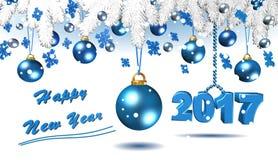 Decorazioni blu di Natale, fondo, illustrazione Fotografia Stock