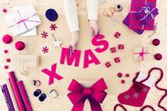 Decorazioni casalinghe di Natale Fotografia Stock Libera da Diritti