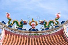 Decorazioni cinesi del tetto del tempiale Fotografia Stock Libera da Diritti