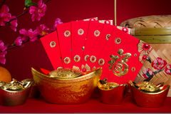 Decorazioni cinesi di festival del nuovo anno, prigioniero di guerra del ANG o pacchetto rosso e Fotografia Stock Libera da Diritti