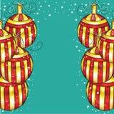 Decorazioni d'annata di Natale su fondo blu illustrazione vettoriale