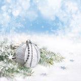 Decorazioni d'argento di Natale, spazio Fotografia Stock Libera da Diritti