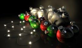 Decorazioni decorate e luci di Natale Fotografia Stock