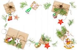 Decorazioni degli ornamenti dei regali di Natale del calendario di arrivo Fotografia Stock Libera da Diritti
