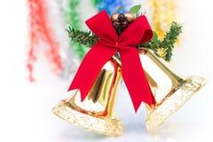 Decorazioni degli ornamenti di Natale di Bell isolate Immagini Stock Libere da Diritti