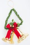 Decorazioni degli ornamenti di Natale di Bell isolate Fotografie Stock
