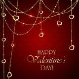 Decorazioni dei biglietti di S. Valentino su fondo rosso Fotografia Stock Libera da Diritti