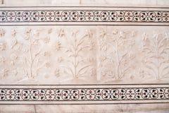 Decorazioni del fiore di Taj Mahal Fotografia Stock