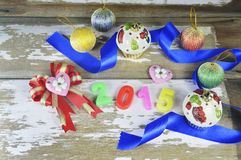 Decorazioni del nuovo anno 2015 Immagini Stock Libere da Diritti