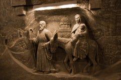 Decorazioni del sale nella miniera di sale di Wieliczka Fotografie Stock Libere da Diritti