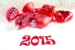 Decorazioni dell'albero di Natale e segno 2015 Immagine Stock Libera da Diritti