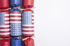 Decorazioni della bandiera americana per il quarto luglio Immagini Stock Libere da Diritti