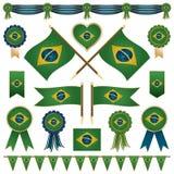 Decorazioni della bandiera del Brasile Immagini Stock Libere da Diritti
