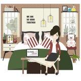 Decorazioni della camera da letto con mobilia royalty illustrazione gratis