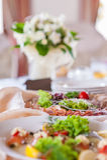 Decorazioni della tavola di nozze Fotografie Stock