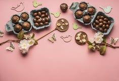 Decorazioni delle uova di cioccolato della composizione in Pasqua varie, conigli di legno ed uccelli su fondo rosa, spazio per te Fotografie Stock Libere da Diritti