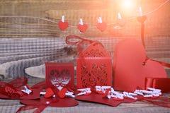 Decorazioni di carta del biglietto di S. Valentino Immagine Stock Libera da Diritti