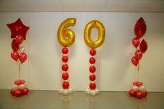 Decorazioni di festa della foto della fase, della tenda o della parete con il numero 60 (sessanta) Immagini Stock Libere da Diritti