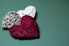 Decorazioni di forma del cuore dell'albero di Natale Fotografia Stock Libera da Diritti