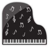 Decorazioni di musical del pianoforte a coda Fotografia Stock