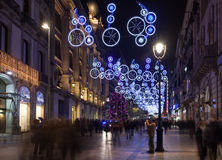 Decorazioni di Natale a Barcellona, Spagna Fotografia Stock