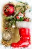Decorazioni di Natale con i fiocchi di neve Cartolina di Natale Fotografia Stock Libera da Diritti