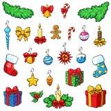Decorazioni di Natale con i regali Insieme di natale Immagine Stock Libera da Diritti