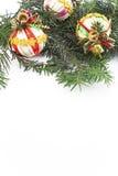Decorazioni di Natale con il ramo di abete Fotografia Stock Libera da Diritti