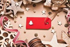 Decorazioni di Natale con l'etichetta Immagine Stock Libera da Diritti
