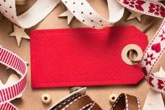 Decorazioni di Natale con l'etichetta Fotografie Stock