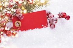 Decorazioni di Natale con l'etichetta Fotografia Stock Libera da Diritti