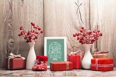 Decorazioni di Natale con la struttura Fotografia Stock