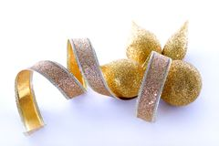 Decorazioni di natale dell'oro Immagini Stock