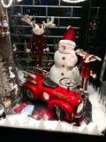 Decorazioni di Natale della renna e del pupazzo di neve Fotografie Stock