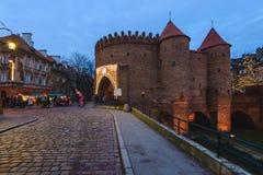 Decorazioni di Natale di Varsavia al barbacane Immagini Stock Libere da Diritti