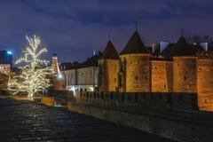Decorazioni di Natale di Varsavia al barbacane Fotografie Stock