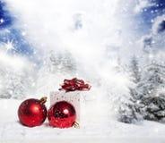 Decorazioni di Natale e contenitore di regalo in neve - abeti nevosi nella b Immagini Stock