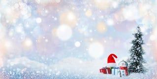 Decorazioni di natale e del pupazzo di neve immagine stock