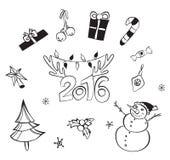 Decorazioni di natale impostate Icone di vettore Accumulazione degli elementi di disegno Oggetti del fumetto Pupazzi di neve, cer Immagine Stock