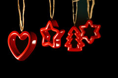 Decorazioni di natale - stelle ed albero del cuore Fotografia Stock Libera da Diritti