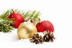 Decorazioni di Natale su bianco Fotografie Stock Libere da Diritti