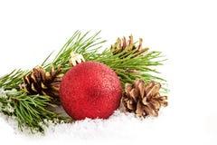Decorazioni di Natale su bianco Fotografia Stock Libera da Diritti