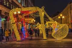 Decorazioni di Natale sul Arbat Immagine Stock