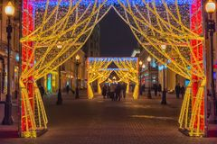 Decorazioni di Natale sul Arbat Fotografia Stock Libera da Diritti