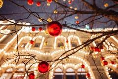 Decorazioni di Natale sul quadrato rosso, Mosca, Russia Immagine Stock