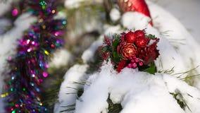 Decorazioni di Natale sull'albero di Natale stock footage