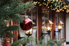 Decorazioni di Natale sulla via di Norimberga (Baviera) Fotografia Stock Libera da Diritti