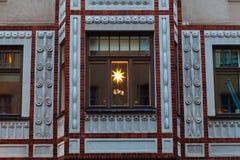 Decorazioni di Natale, una stella di 8 punti in Finlandia Fotografia Stock Libera da Diritti